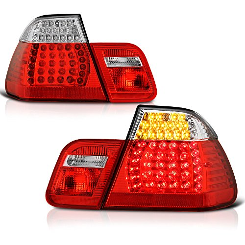 - VIPMOTOZ M3 Style Red Lens Chrome Housing LED Tail Light Lamp Assembly For 2002-2005 BMW E46 3-Series LCI Facelift Sedan, Driver & Passenger Side
