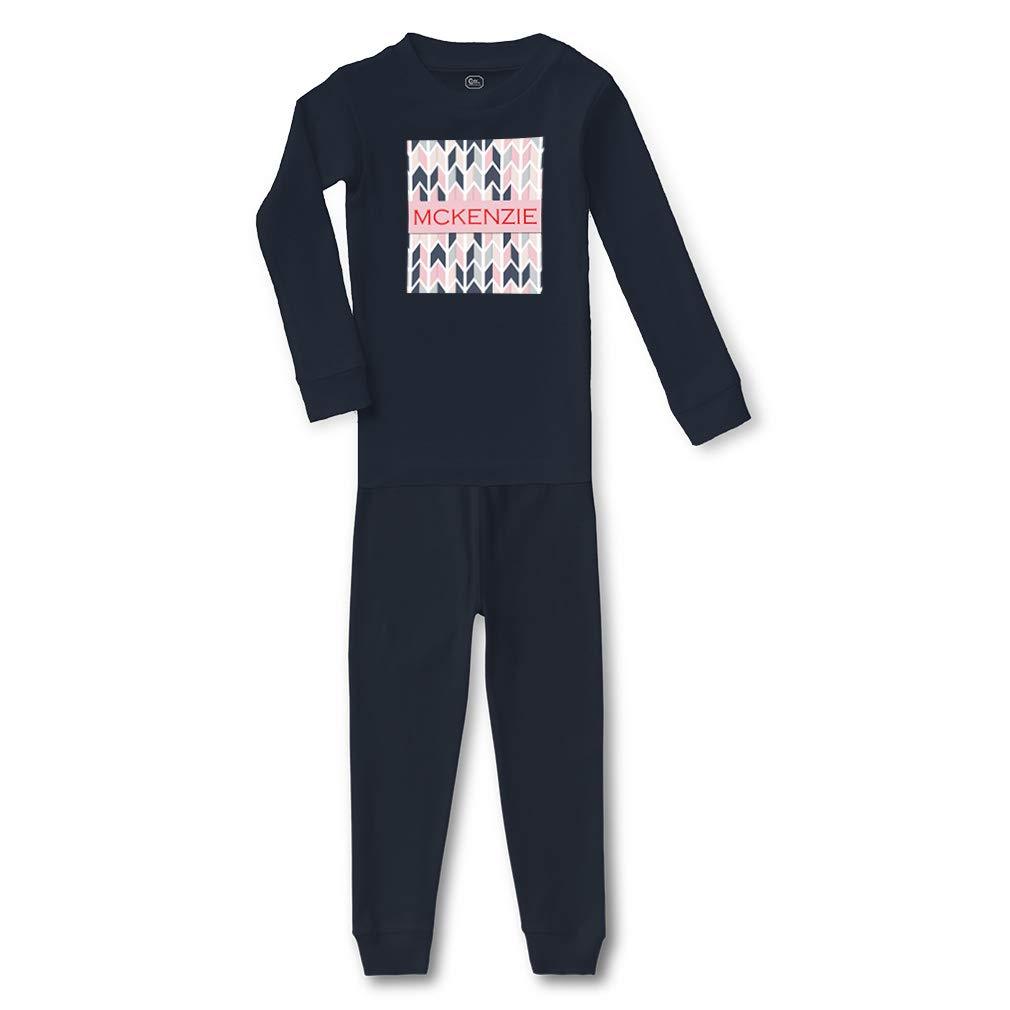 Personalized Custom Girly Design Pink Shapes Sleepwear Pajama 2 Pcs Set