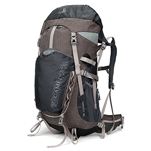 CAMEL CROWN 45L Internal Frame Backpack for Camping,Hiking,Hunting and Outdoor Activities with Rain Cover(min36L-max55L)