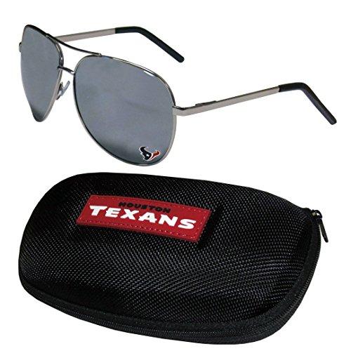 (NFL Houston Texans Aviator Sunglasses & Zippered Carrying Case)