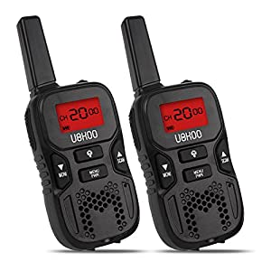 Walkie Talkies for Kids, 22 Channel FRS/GMRS 2 Way Radio 2 miles (up to 3.7 Miles) (Pack of 2, Black)