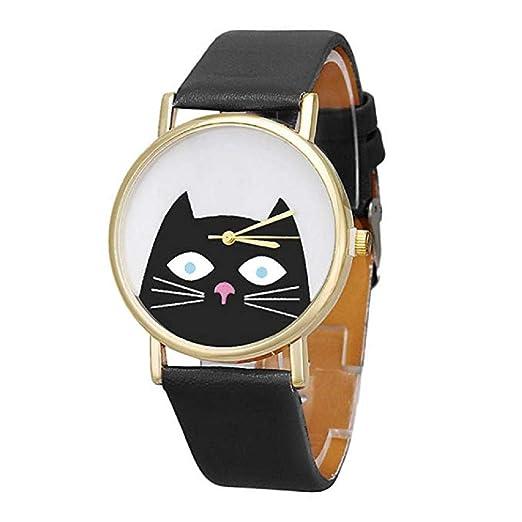 Relojes de Cuarzo para Mujer Patrón Lindo del Gato Exclusivo de Manera analógica Liquidación Relojes para Mujeres Relojes para Mujeres (Negro): Amazon.es: ...