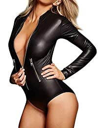 GILLEM Wet Look Bodysuit Womens Sexy Leather Long Sleeve Zip Playsuit Romper Clubwear