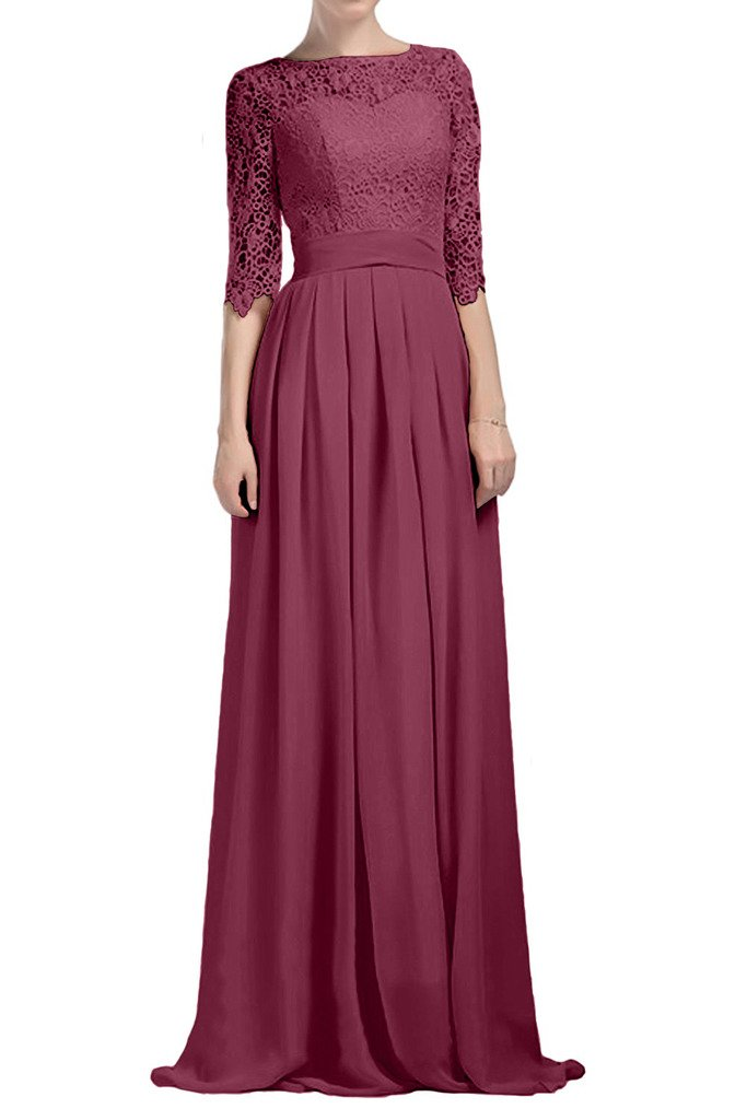 Charm Bridal Half Sleeve Chiffon Lace Mother of the Bride Long Summer Prom Dress -12-Burgundy