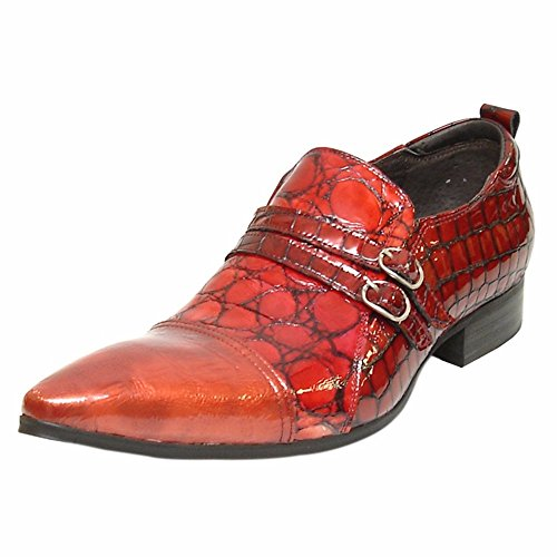 (Fiesso Red Patent Encore Monkstraps for Men – Slip ONS with Croc Print, Cap Toes, and Buckles | Lifestyle Shoes)