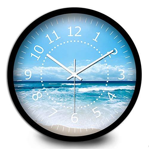 Qioop Wall Clock Blue Sky Living Room Silent Quartz Wall Clock 14 inches