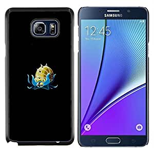 KLONGSHOP // Cubierta de piel con cierre a presión Shell trasero duro de goma Protección Caso - Omanyte P0kemon - Samsung Galaxy Note 5 5th N9200 //