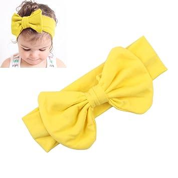 Yellow Kids Bow Hairband Headband Baby Girl Stretch Cotton Turban