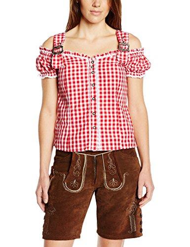Fuchs Trachtenmoden Damen Trachten Bluse mit Carmenarm und Metall Schließe, Gr. 42 (Herstellergröße: L), Rot