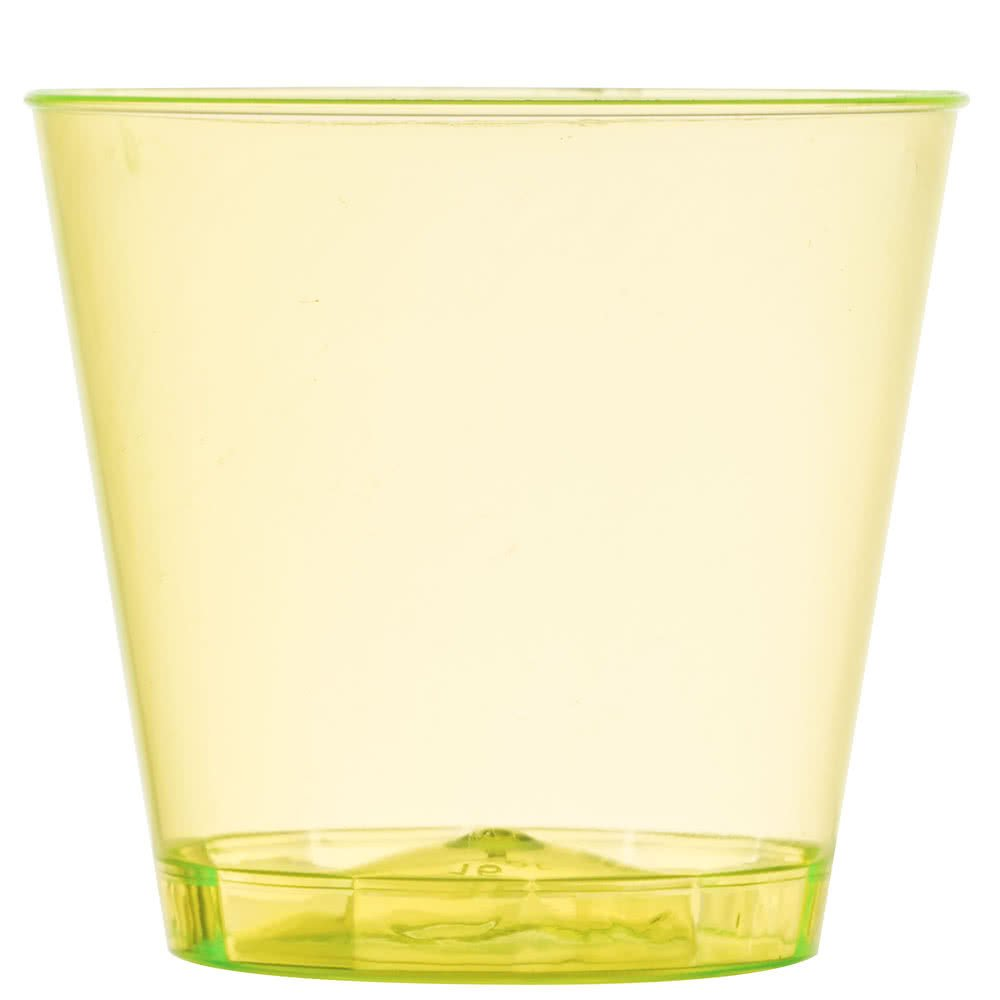 Fineline Quenchers 401-Y 1 oz. Neon Yellow Hard Plastic Shot Cup - 2500/Case by Fine-line
