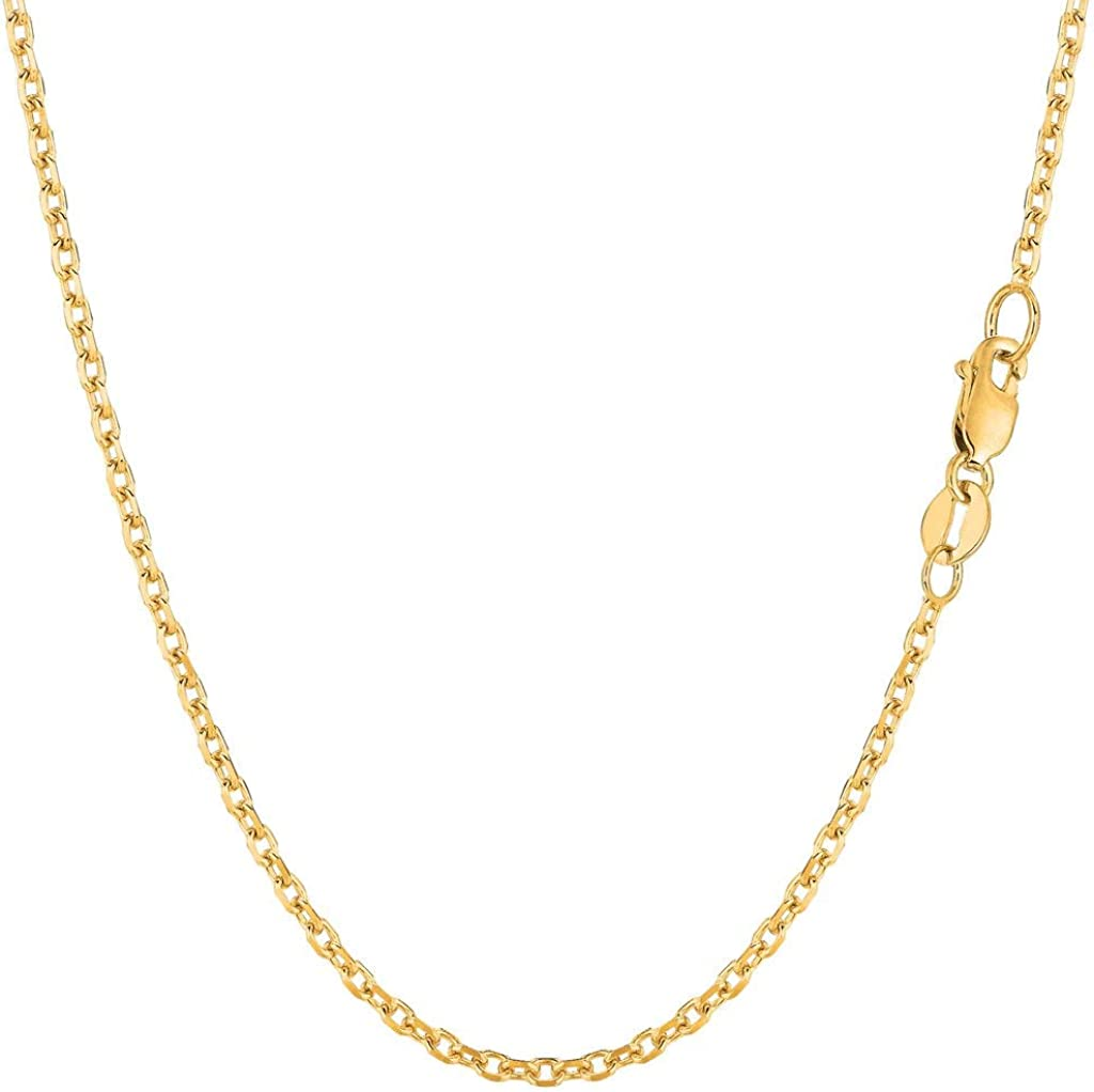 14K Yellow or White Gold 1.8mm Shiny Diamond Cut Cable Link Chain Necklace for Pendants and Charms with Lobster-Claw Clasp 16, 18, 20, 22, 24, or 30 inch