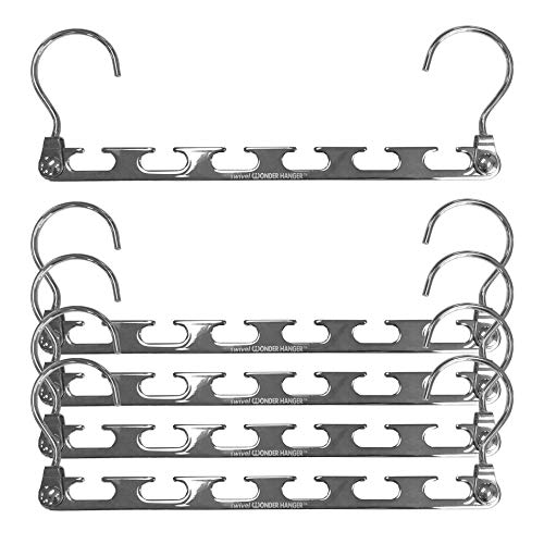 (Wonder Hanger Heavy Duty 360 Swivel Action Hanger, Pack of 5 in Metal - Keep Your Clothes Organized and Wrinkle-Free!)