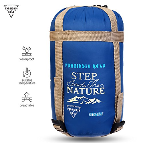 Adult Sleeping Bag (Forbidden Road 380T Nylon Portable Sleeping Bag Single 15 ℃/ 60 ℉(5 Colors) Lightweight Waterproof Envelope for Man Woman 3 Seasons Camping, Hiking, Backpacking - Free Compression Bag Included)