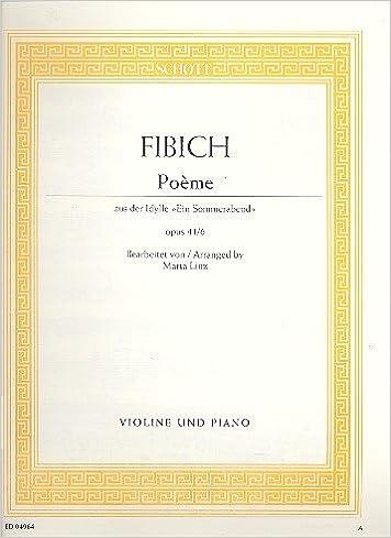 Poème Op416 Violon Amazoncouk Zdenek Fibich
