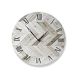 MansWill 11 Inch Natural Wood Wall Clock, Super Quiet Movement Country-Style Round Hanging Clock/Decorative Vintage Silent Non Ticking Battery Operated Timer for Living Room Kitchen Bathroom Bedroom