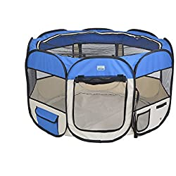 "EXPAWLORER 32"" Puppy Playpen Dog Exercise Kennel Cat Portable Foldable Pen for Small Medium Pets, With Carry Bag, Blue"