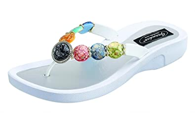 d59cd793e Image Unavailable. Image not available for. Color  Grandco Women s  Moonstone V Thong White Sandal ...
