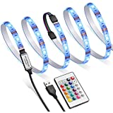 AMIR TV LED Backlight Kit, RGB Light Strip Kit Bias Lighting with Remote Control, USB LED Strip Lights for 40-60 Inch HDTV, Monitor PC, Car & More (4pcs x 50cm, 16 Colors & 4 Modes)