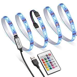 AMIR TV LED Backlight Kit RGB Light Strip Kit Bias Lighting with Remote Control USB LED Strip Lights for 40-60 inch HDTV Monitor PC Car & More (4pcs x 50cm 16 Colors & 4 Modes)