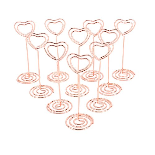 6MILES 10 PCS Double Heart Shape Table Number Pictures Memo Holder Stands Place Card Paper Menu Clips for Desk Weddings Party