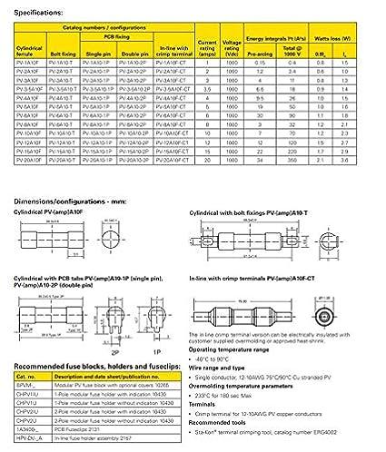 15A PV15A10F Bussmann PV-15A10F Solar PV 10x38mm 1000VDC Photovoltaik-Sicherungen