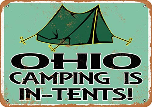Wall-Color 7 x 10 Metal Sign - Ohio Camping is in-Tents - Vintage Look