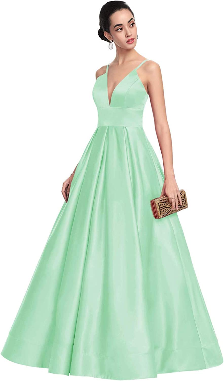Womens V-Neck Princess Ballgown Long Prom Dresses Satin Formal Evening Gowns with Pockets