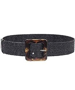SODIAL Cinturón de Hebilla Tejida Moda para Mujer Cinturón Casual Vestido de Damas Cinturón de Paja Negro