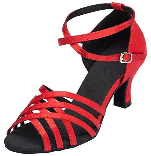 Abby Yfyc-l124 Kvinna Latin Tango Balsal Mid Häl Professionell Satin Dansskor Röd