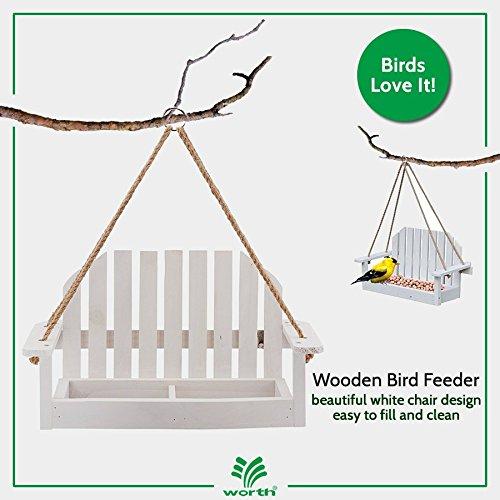 Worth Garden Wooden Bird Feeder with White Swing Chair Design (Tree Circular Branch Christmas)