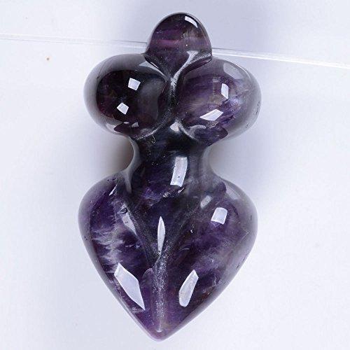 45-52mm Carved gemstone goddess pendant bead (Amethyst) (Goddess Bead)