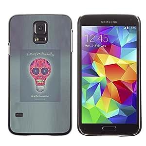 MobileHut / Samsung Galaxy S5 SM-G900 / Idea Skull Funny Poster Light Bulb Grey / Delgado Negro Plástico caso cubierta Shell Armor Funda Case Cover
