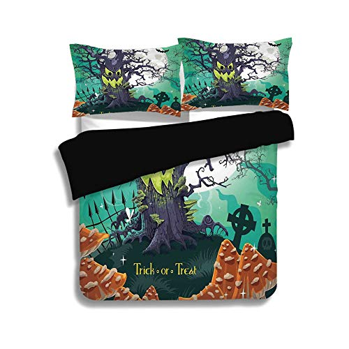 Black Duvet Cover Set Full Size,Halloween Decorations,Trick or Treat Dead Forest with Spooky Tree Graves Big Kids Cartoon Art,Multi,Decorative 3 Pcs Bedding Set by 2 Pillow -