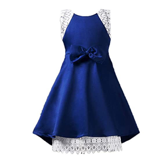 5bb43a38dc46 Si Rosa by Hopscotch Elegant Blue Girls Party Dress  Amazon.in ...
