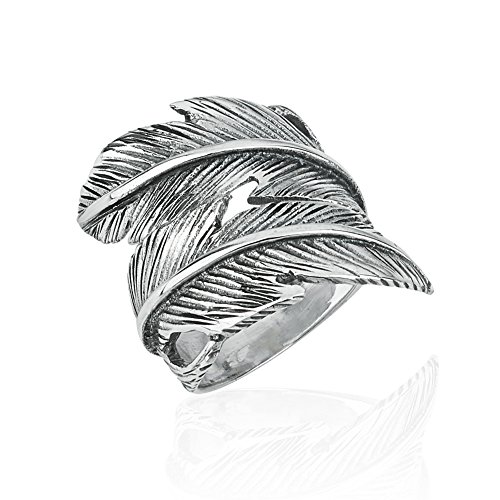 925 Sterling Silver Wide Feather Wrap Around Vintage Vibe Unisex Ring, Band Size 7