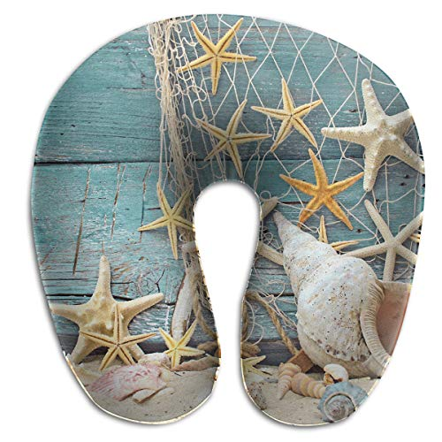 (Create Magic - Seashells Starfish U-Shaped Travel Pillow A Memory Foam Pillow That Provides Relief and Support for Travel Office Home Neck Pain and Many More)