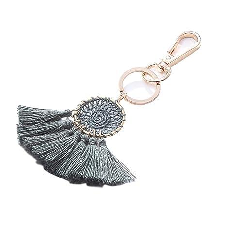 Boho Taschenanhänger Schlüsselanhänger mit Plüschkugel und Quaste