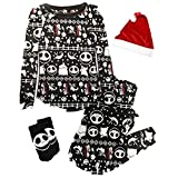 The Nightmare Before Christmas Women's Soft Minky Fleece 4 Piece Pajama Gift Set (L (12-14))
