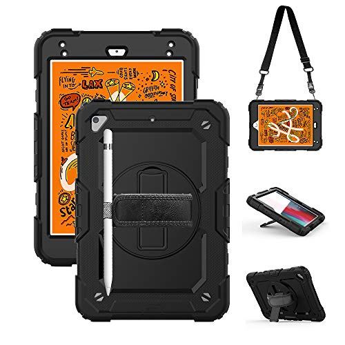 iPad Mini 5 Case 2019, iPad Mini 4 Case with Screen Protector & Pencil Holder, iPad Mini 4th/5th Generation Case for Kids, Shockproof Durable Rugged Drop Protection Case with Stand/Hand Strap Black