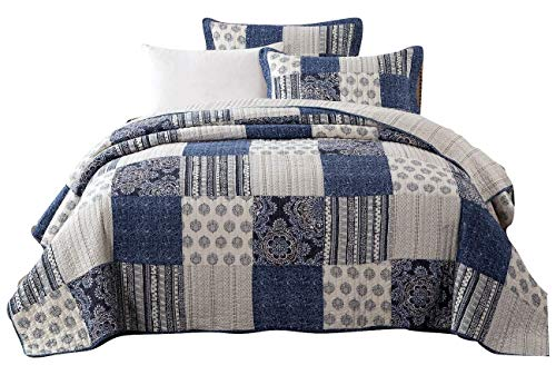 DaDa Bedding Patchwork Bedspread Set - Denim Blue Elegance 100% Cotton Quilted - Bright Vibrant Multi Colorful Navy Floral - Queen - 3-Pieces -