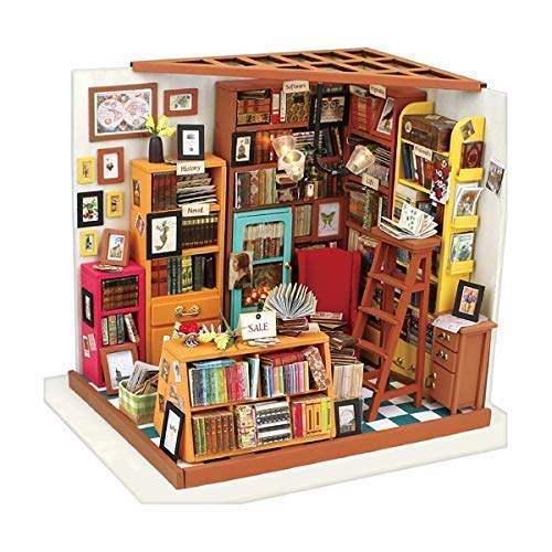 Miniature Dollhouse Furniture Kit DIY Wooden House with Led Lights Sam's Bookstore 3D Mini Dollhouse Accessories Birthday Christmas Gifts for Adults Teens Friends for $<!--$34.79-->