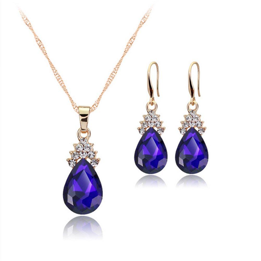 weimay Parure Collier et boucles d'oreilles diamant gouttelettes d'eau collier pendentif en cristal Exquisites cadeau Size 2, 6* 1cm (Violet)