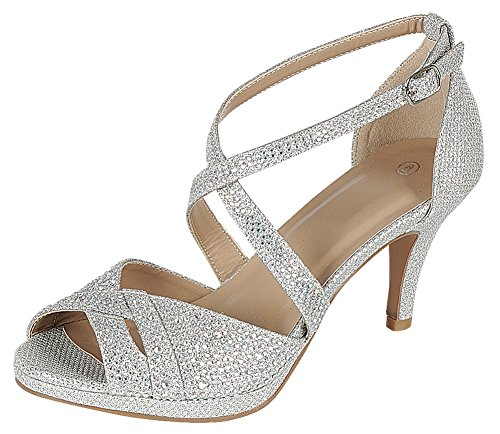 Cambridge Select Women's Peep Toe Crisscross Ankle Strappy Glitter Crystal Rhinestone Mid Heel Sandal (6.5 B(M) US, Silver)