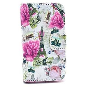 MOFY- Funda de cuero flor del Peony Torre Eiffel Patr—n PU con el sostenedor de la tarjeta para Samsung Galaxy I8160