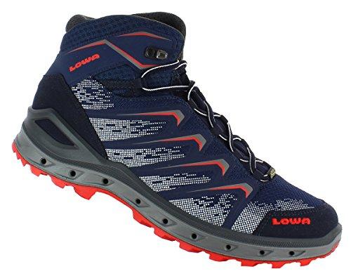 Lowa Herren Aerox GTX Mid Trekking-& Wanderstiefel, Blau/Rot, 44 EU Blau (Navy/rot 6941)