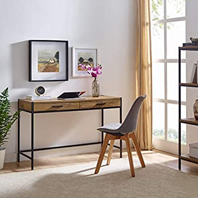 Writing Desk by CAFFOZ Furniture Designs | Study Computer Desk | Oak Brown | Laptop PC Table Workstation with 2 Drawers for Home Office | Storage Space Saver - ✔️PERFECT PIECE FOR YOUR STYLISH & FUNCTIONAL HOME OFFICE: Fits comfortable in your space even in small rooms, complement the other furniture in the room to make the space feel proportional and balanced. ✔️RICH & EASY CLEAN FINISH: Hand-applied durable laminate accent oak brown finish and powder-coated metal hardware easy to clean. sturdy and can be use as computer desk, learning table, game table, secretarial desk. ✔️ MULTI-USE: Whether gaming, studying or surfing the net, this contemporary 2 drawer style that adds a touch of sleek sophistication to any home office, dorm room or bedroom. - writing-desks, living-room-furniture, living-room - 51tbYSDTLkL. SS400  -