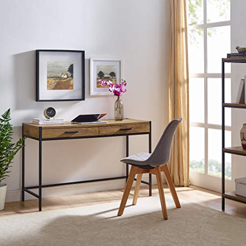 Writing Desk by Aaron Furniture Designs | Study Computer Desk | Oak Brown | Laptop PC Table Workstation with 2 Drawers for Home Office | Storage Space Saver ()