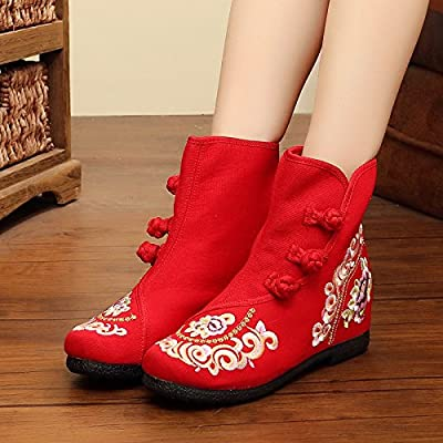 GTVERNH-automne hiver du vieux beijing cloth bottes d'accroître les fonds mous vent courte des bottes brodé de bottes souliers bottes chinois.