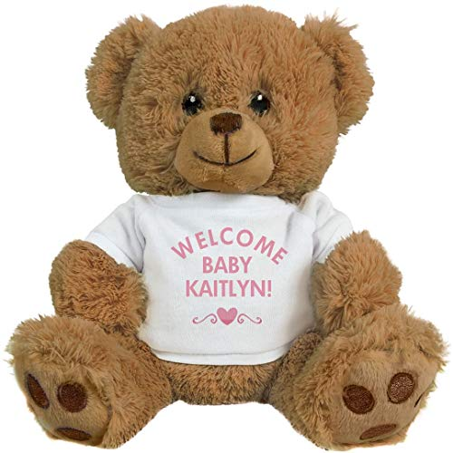 FUNNYSHIRTS.ORG Welcome Baby Girl Kaitlyn with Heart: 8 Inch Teddy Bear Stuffed Animal -  Printed by eRetailing, 1224573No Size
