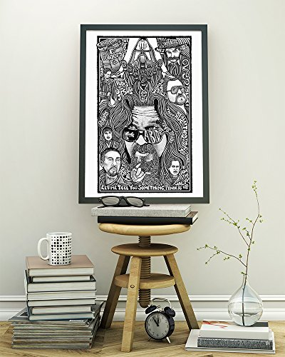 (The Big Lebowski Dude Poster - Inspired Letterpress Art Print Poster - Detailed Pen and Ink Original Hand Drawing 11